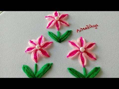Hand Embroidery: Double Color Flowers with Ring Stitch  ArtesdOlga