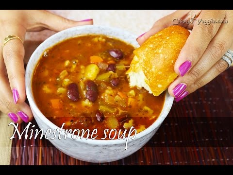 Hearty Minestrone soup | Vegetarian recipe by crazy4veggie.com