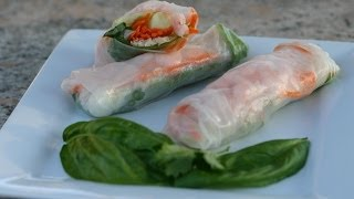 How To Make Shrimp Spring Rolls With Spicy Peanut Sauce | Rockin Robin Cooks cilantro