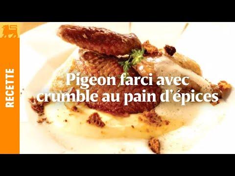 Pigeon farci au crumble au pain d'épices