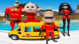 Incredibles Family School Bus Trip and Crayola Crayon Colors in Swimming Pool | Episode 11