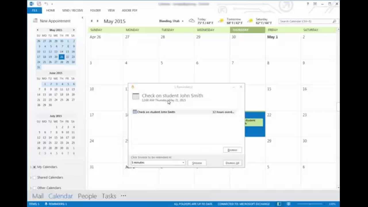 microsoft outlook 2013 add calendar event reminder