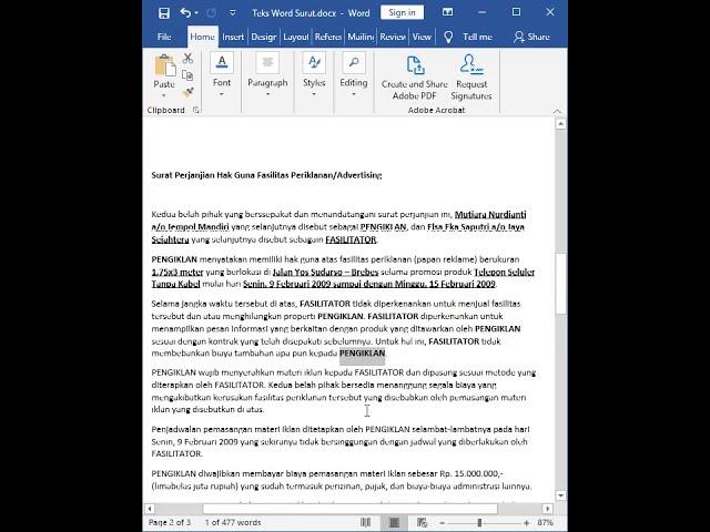Tutorial Belajar Kursus Komputer Ms. Word Cara Surat Perjanjian Hak Guna Fasilitas Periklanan