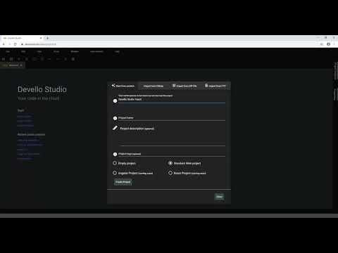 Devello Studio - Create project from scratch