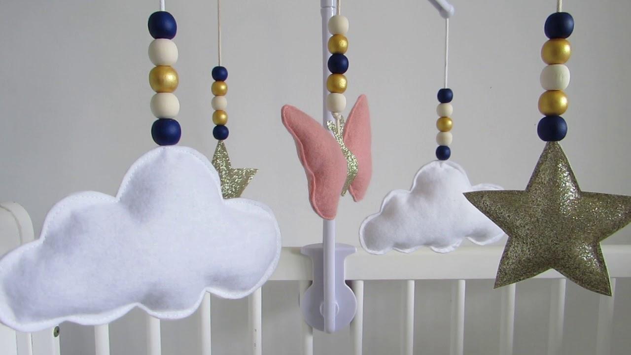 mobile musical papillon nuage toile rose dor bleu marine blanc mini canaille youtube. Black Bedroom Furniture Sets. Home Design Ideas