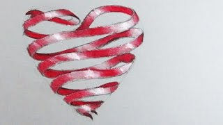 How to Draw a Love Heart: Red Ribbon