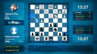 Chess Game Analysis: Sanjana Raj - benoniman69 : 0-1 (By ChessFriends.com)