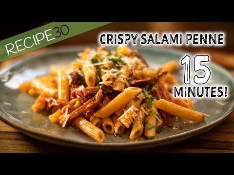 15 Minute Crispy Salami And Olive, Tomato Pasta