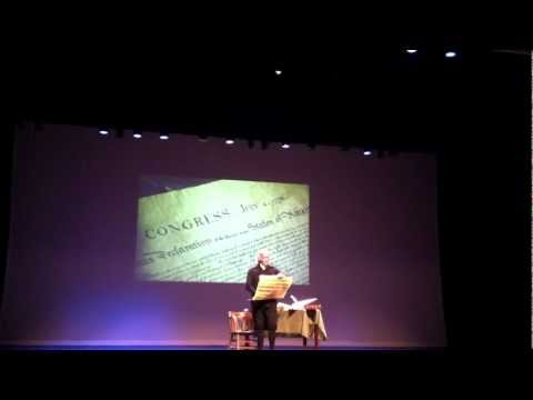 Thomas Jefferson, played by Bill Barker, reads the Declaration of Independence