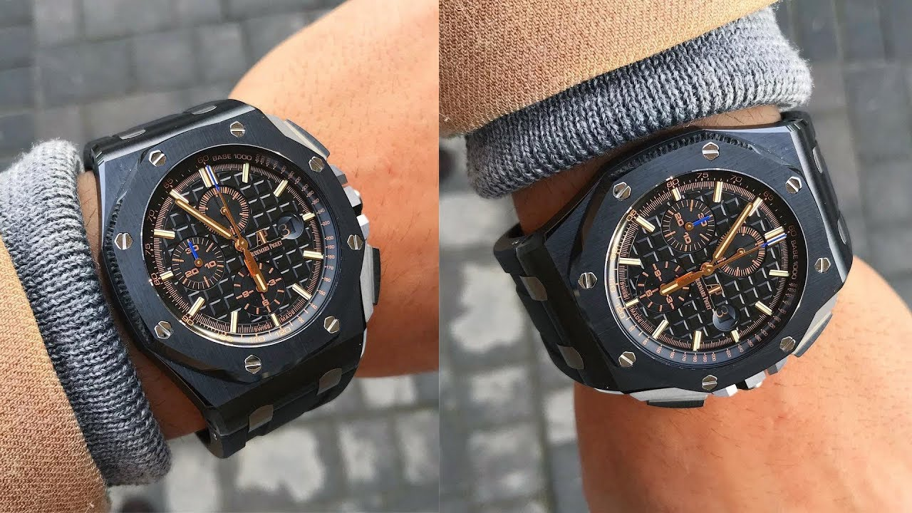 Audemars piguet royal oak offshore chronograph 26405ce black dial 44mm ceramic luxury watch on for Royal oak offshore ceramic