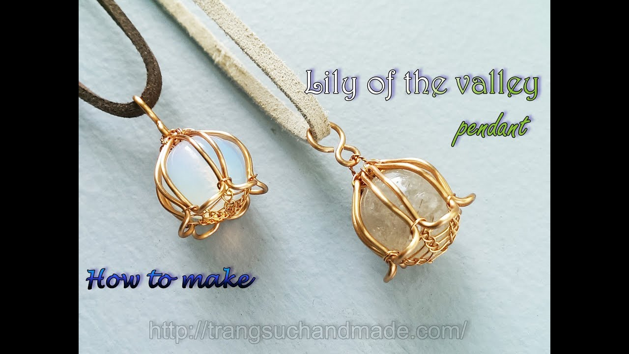 Lily of the valley pendant with large spherical stones without holes ...