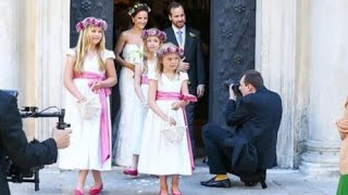 Prinses Amalia bij Huwelijk Juan Zorreguieta & Andrea Wolf.