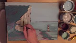 FREE ART Lesson No 14 Seascape with lighthouse Oli Painting. Online art course