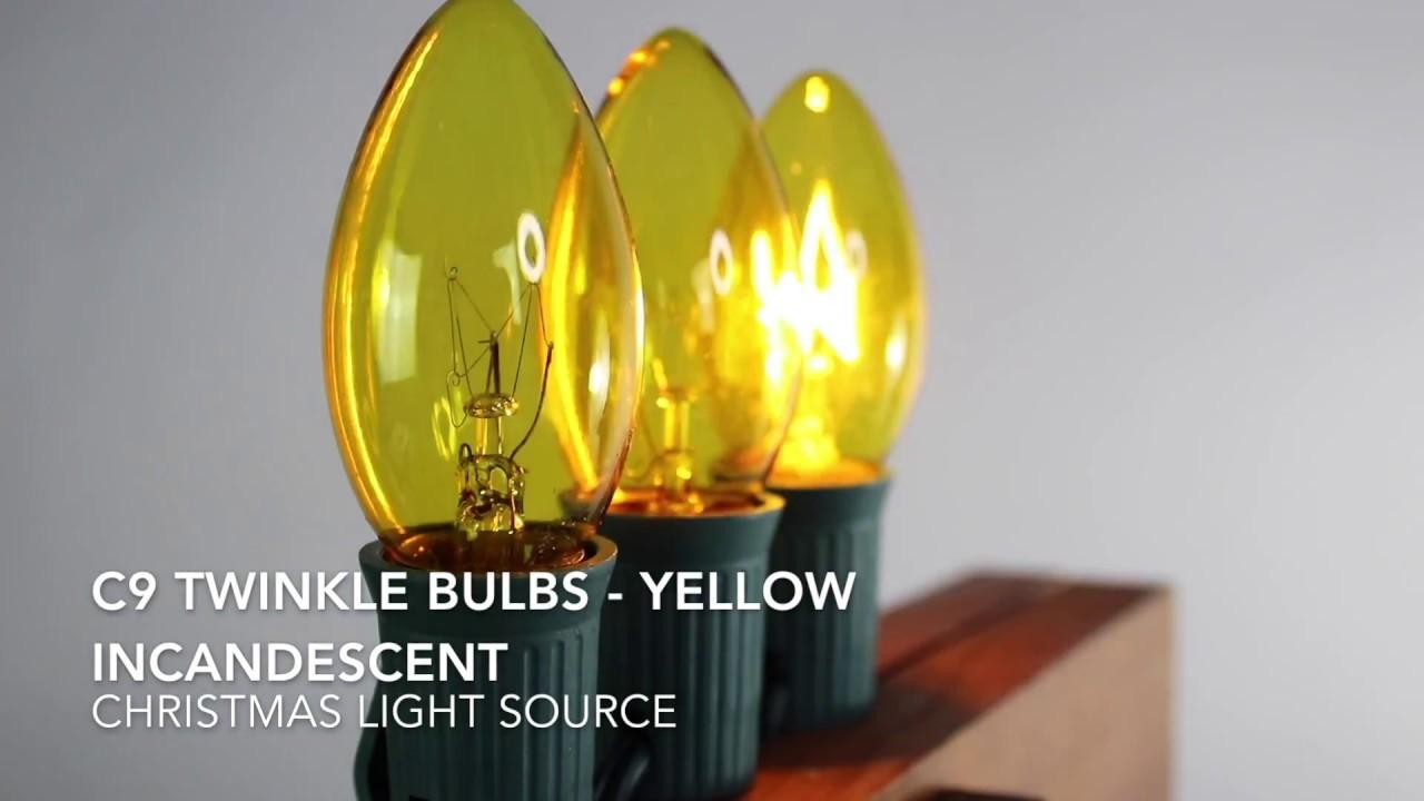 Yellow C9 Twinkle Bulbs - YouTube