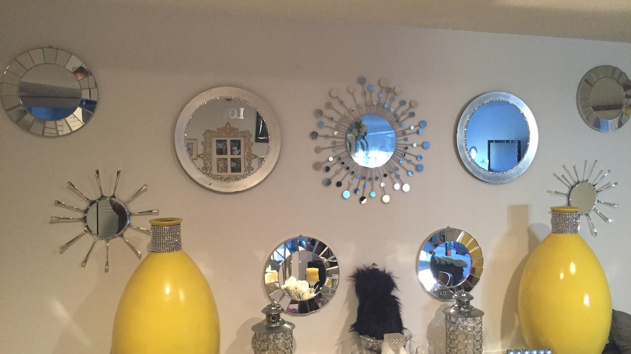 Diy glam wall decor mirror gallery youtube for Mirror gallery wall