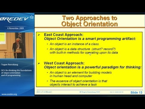 DCI: Re-thinking the foundations of object orientation and of programming - Trygve Reenskaug