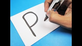 "How to turn Letter ""P"" into a Cartoon PARROT ! Learn drawing art on paper for kids"