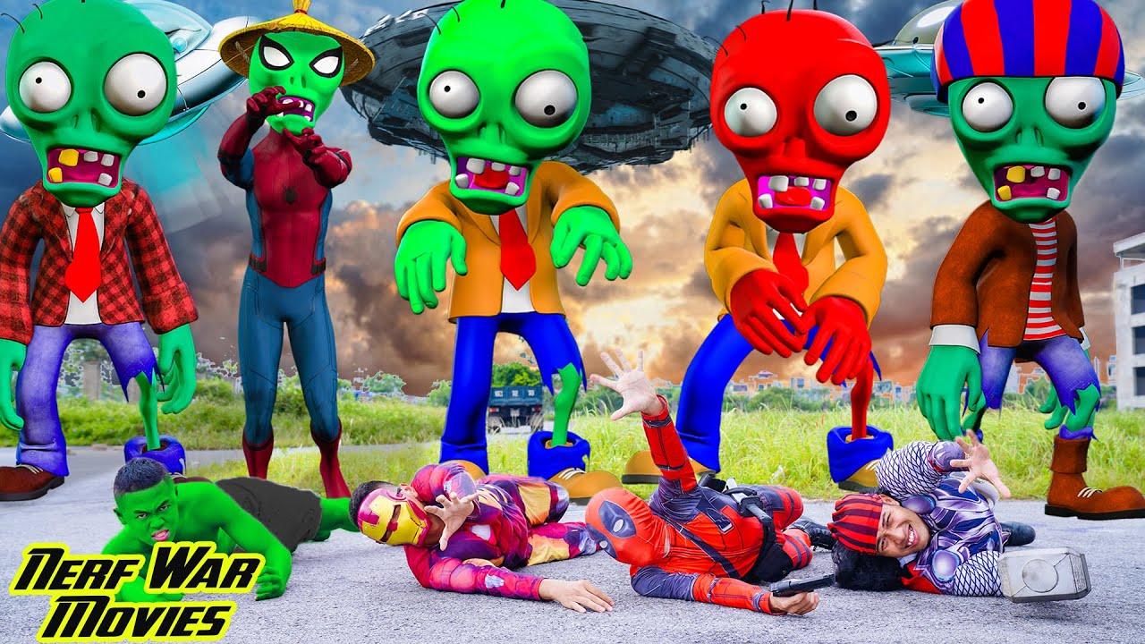 Nerf War Movies: Superhero Power X Warriors Nerf Guns Fight Criminal Group Zombie Scary