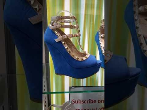 Kendall-82 Blue Wedge Studded Heels