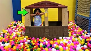 Indoor Trampoline Playground for Kids with playhouse and color pit balls!! family fun