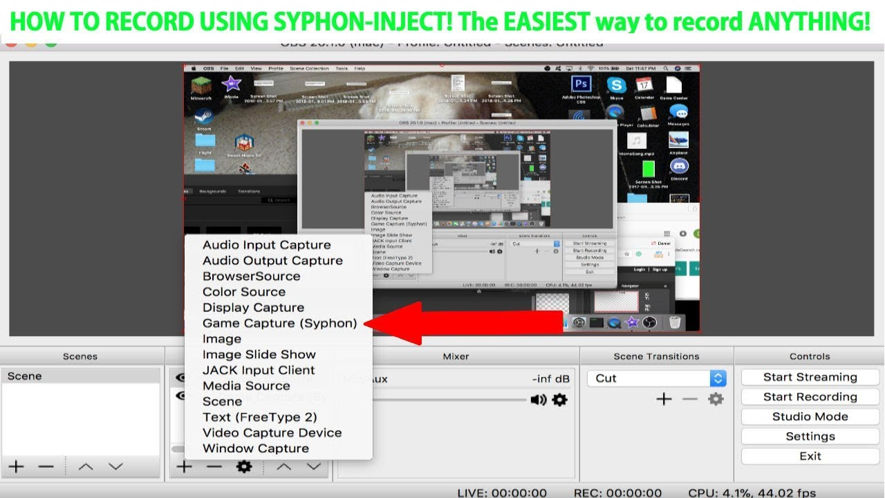 How to: Record gameplay using Syphon Inject! EASIEST way to record ANYTHING!