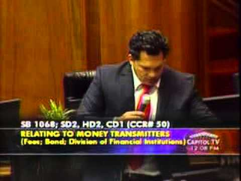 Reps. McDermott and Fale address SB1068 - Money Transmitters; Fees