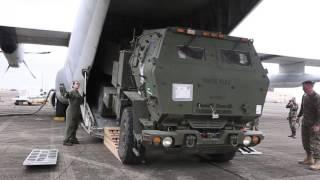 Balikatan 2016 - M142 HIMARS Loaded to KC-130J Aircraft Bound to Palawan thumbnail