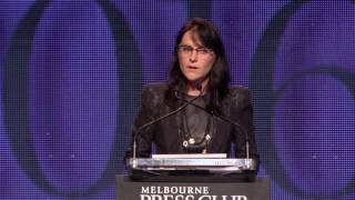 Caro Meldrum Hanna accepting 2016 Perkin Award