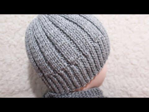 Как связать шапку спицами мужскую видео