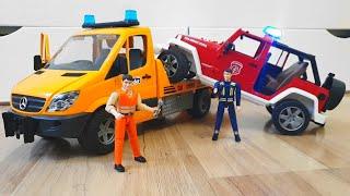 Машинки для мальчиков Пожарная машина Bruder сломалась, отвалилась кабина и дверь!
