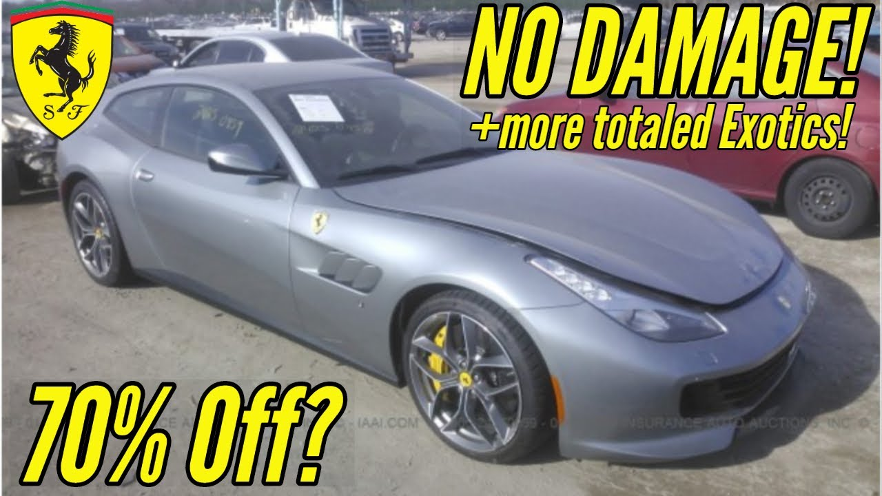 IAA: Cheapest Supercars at Salvage Auction! Ft  Flood Damaged Ferrari and  Wrecked Nissan GTR!