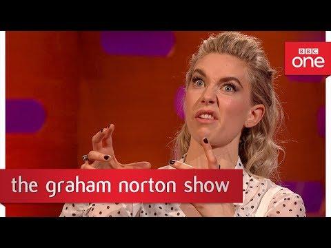 Vanessa Kirby recognised as Princess Margaret swigging her journey juice!   The Graham Norton