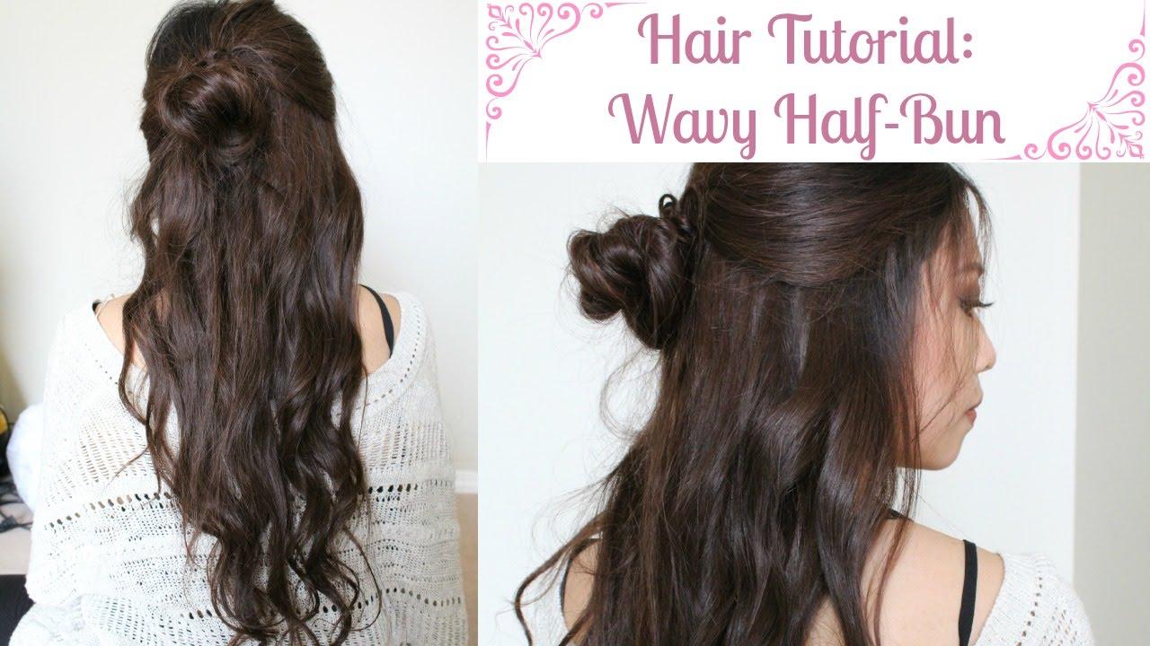 Hair Tutorial Easy Wavy Half Bun Hairstyle Youtube