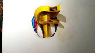 "Graffiti letra ""F"" en 3D🔵 graffiti letter F in 3D 2018"