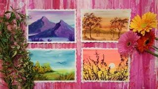 Рисуем 4 пейзажа гуашью (без ускорения:)