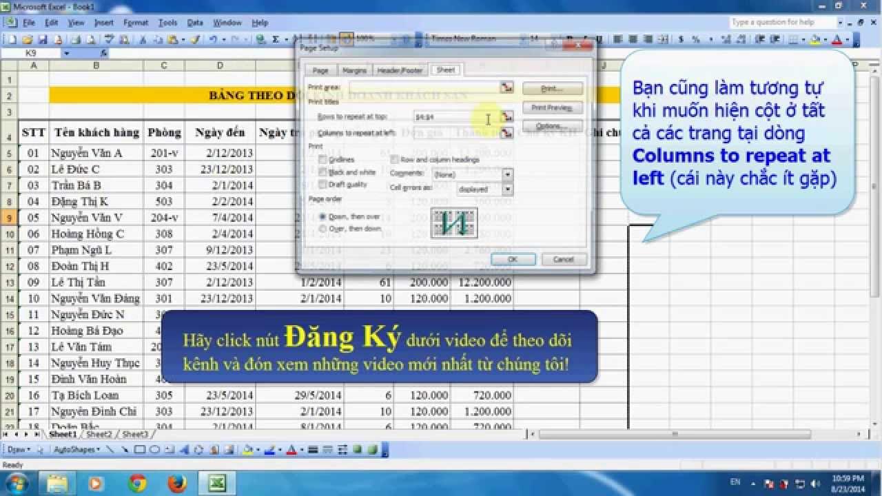 Lặp lại dòng tiêu đề trên các trang in trong Excel