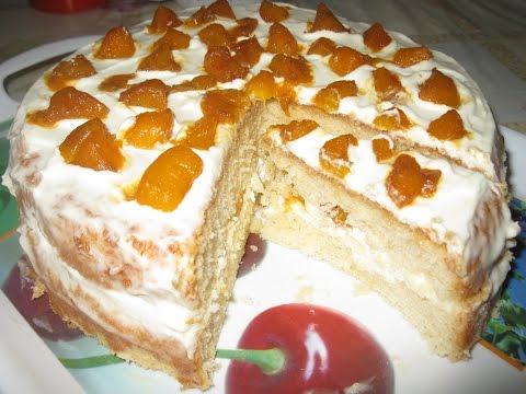Бисквитный торт со сметаной. Пошаговая инструкция. Рецепт.