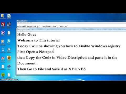 how to Enable Windows registry Windows XP Windows 7