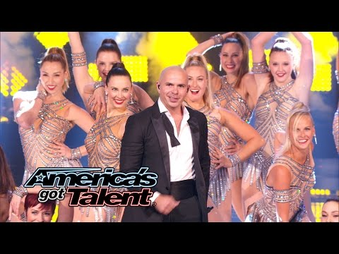 """Pitbull: Mr. Worldwide Sings """"Fireball"""" With The Rockettes - America's Got Talent 2014 Finale"""