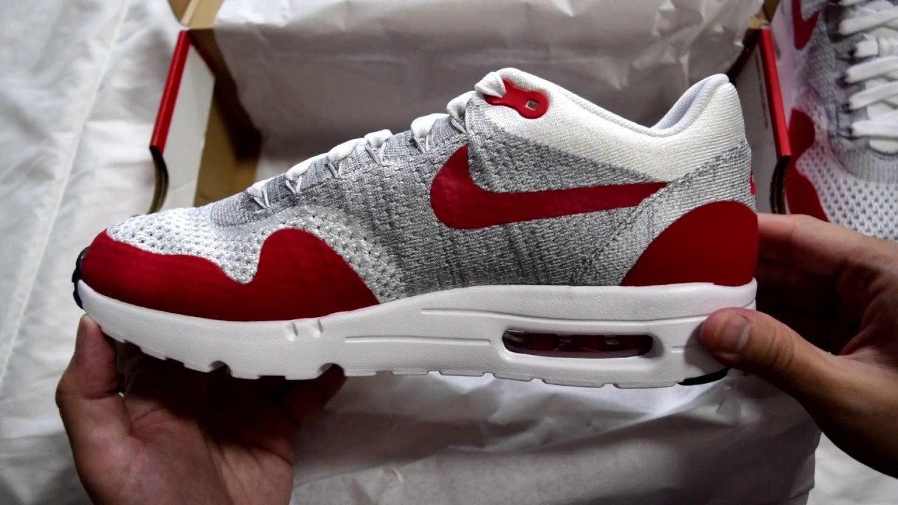 1063987aa1 1 Minute Unboxing - Nike Air Max 1 Ultra Flyknit OG (White / University Red  / Pure Platinum)
