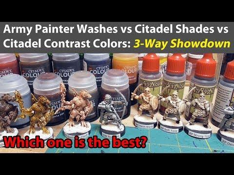 Army Painter Washes vs. Citadel Shades vs. Citadel Contrast Paints