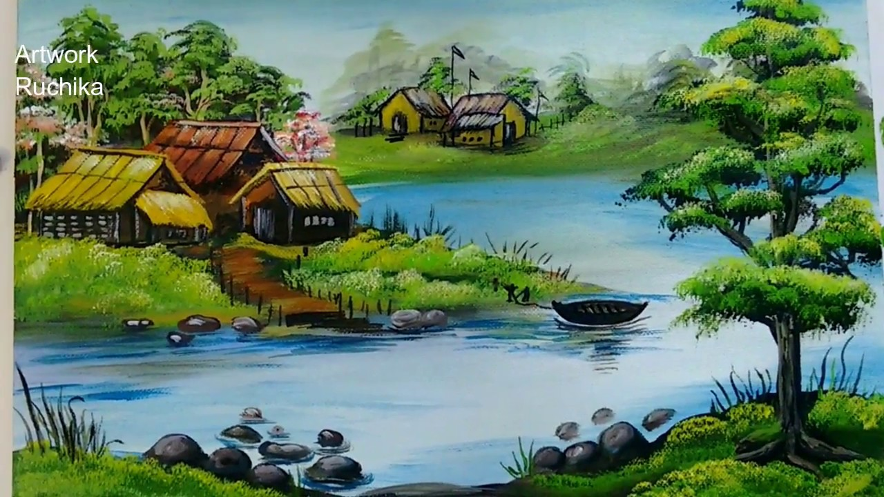 Village Scenery in Beautiful Landscape | Acrylic Painting ...