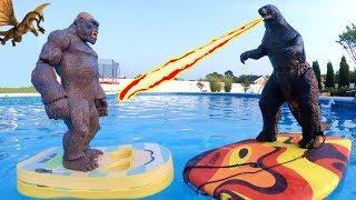 GODZILLA vs KING KONG Toys Swimming Pool Fight Scene | Video for Kids
