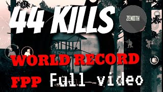 NEW WORLD RECORD FPP!? l 44 kills solo vs squad full video in sanhok l PUBG Mobile