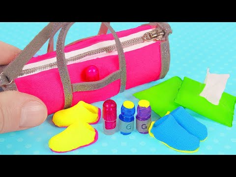 DIY Miniature Doll Gym Accessories: Gym Bag, wet wipes, sneakers, and more
