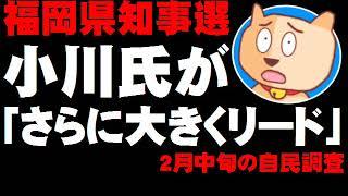 【福岡県知事選】現職・小川氏が自民推薦候補を「さらに大きくリード」- 自民分裂選挙