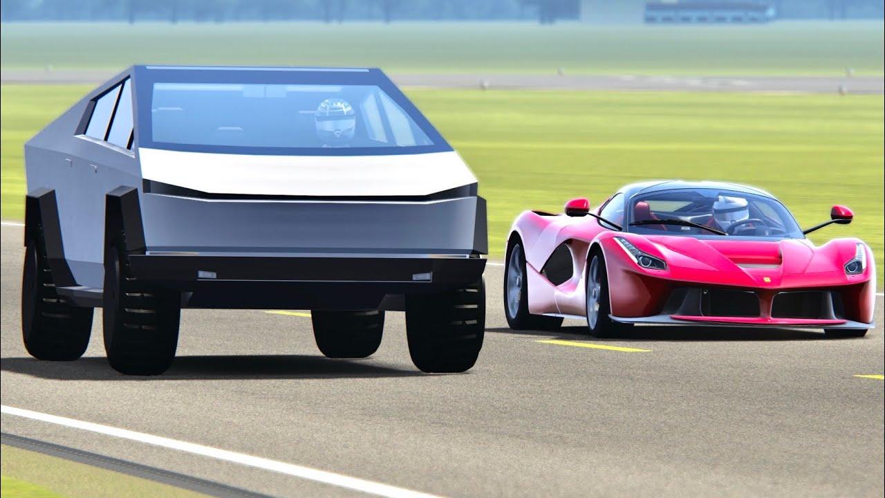 Tesla Cybertruck Vs Ferrari Laferrari Top Gear Track Youtube