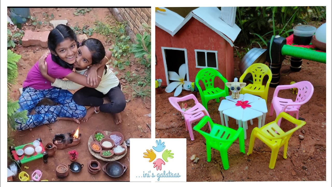 Real miniature cooking P-38 Tamil |kids cooking in their outdoor miniature kitchen |egg fried rice