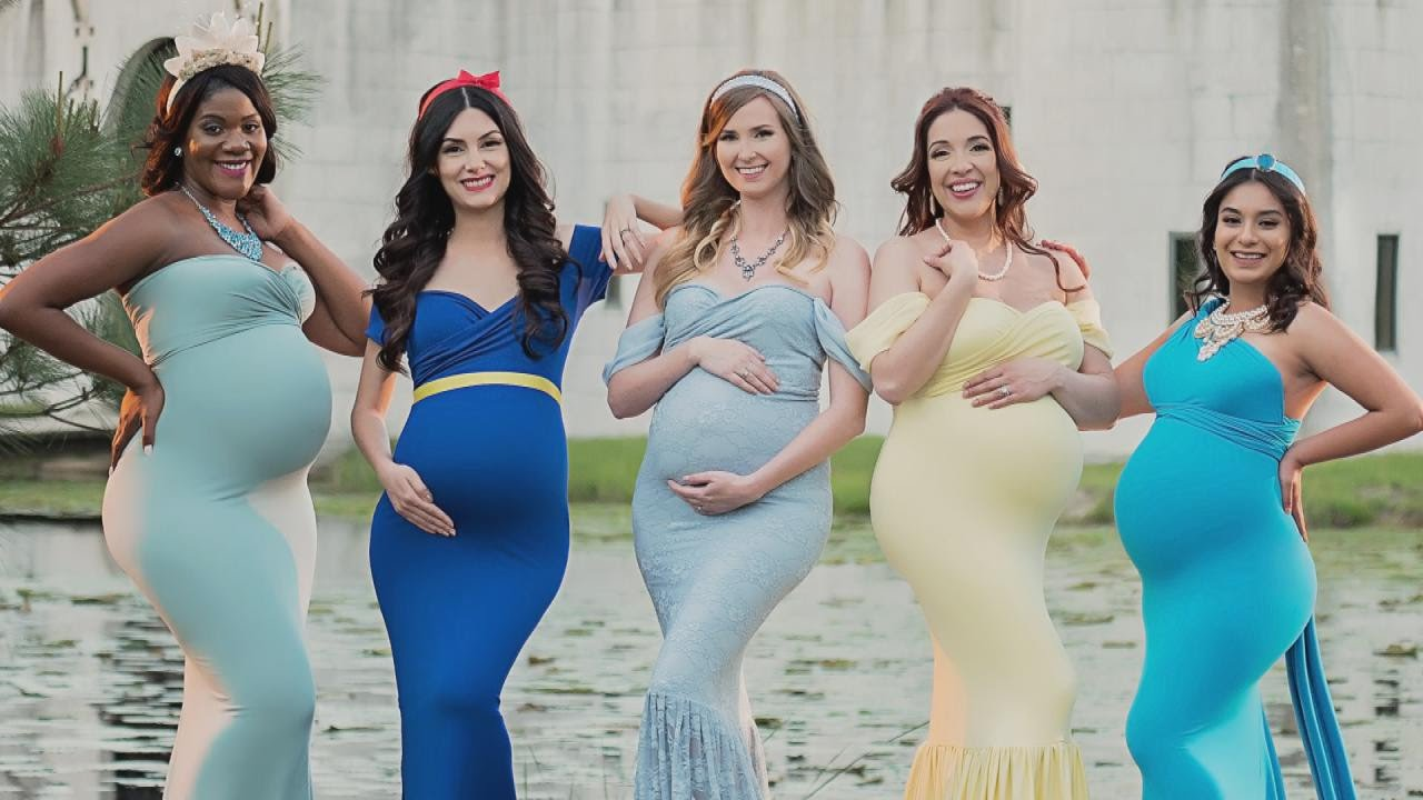 0ca138f4b Moms Dress Like Disney Princesses For Maternity Photos - YouTube