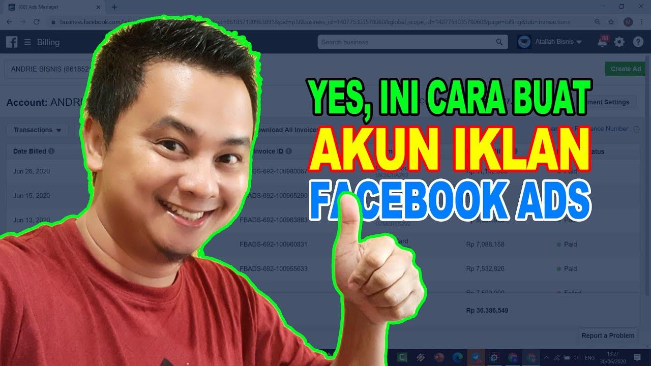 yes ini cara membuat akun iklan untuk facebook bisnis